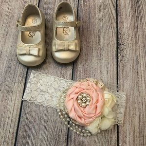 Gold shoes and floral headband